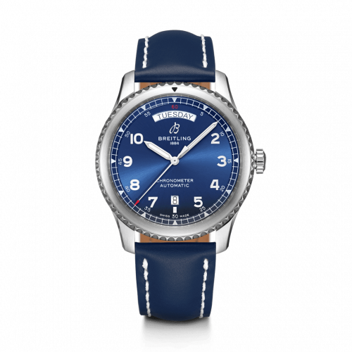 Breitling A45330101C1X5 : Navitimer 8 Automatic Day & Date 41 Stainless Steel / Blue / Blue Calf / Folding