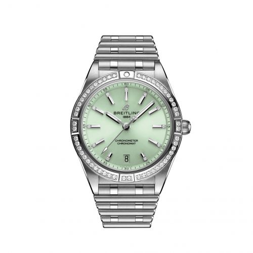 Breitling A10380591L1A1 : Chronomat Automatic 36 Stainless Steel - Diamond / Green / Rouleaux