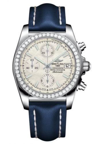 Breitling A1331053A774115X : Chronomat 38 SleekT Stainless Steel / Diamond / MOP / Calf