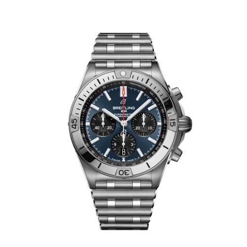 Breitling AB0134101C1A1 : Chronomat B01 42 Stainless Steel / Blue / Rouleaux