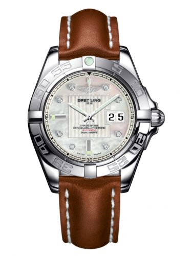 Breitling A49350L2.A702.425X : Galactic 41 Stainless Steel / Pearl Diamond / Calf