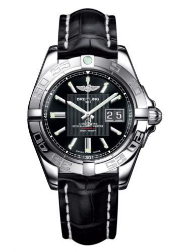 Breitling A49350L2.BA07.728P : Galactic 41 Stainless Steel / Trophy Black / Croco