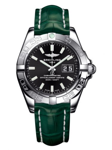 Breitling A49350L2.BE58.771P : Galactic 41 Stainless Steel / Onyx Black / Croco