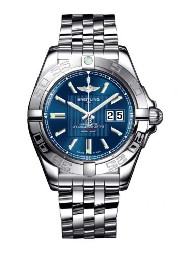 Breitling A49350L2.C806.366A : Galactic 41 Stainless Steel / Metallica Blue / Bracelet