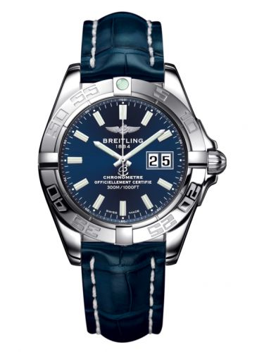 Breitling A49350L2.C929.718P : Galactic 41 Stainless Steel / Horizon Blue / Croco