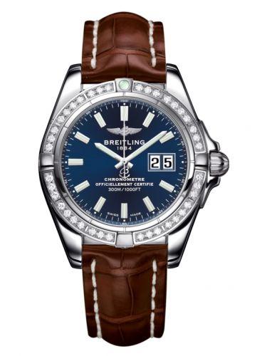 Breitling A49350LA.C929.722P : Galactic 41 Stainless Steel / Diamond / Horizon Blue / Croco