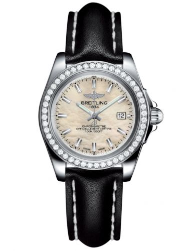 Breitling A7133053/A800/408X/A14BA.1 : Galactic 32 Sleek Edition Stainless Steel / Diamond / Pearl / Calf