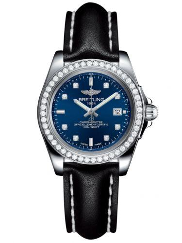 Breitling A7133053/C966/408X/A14BA.1 : Galactic 32 Sleek Edition Stainless Steel / Diamond / Horizon Blue Diamond / Calf