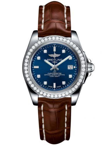 Breitling A7133053/C966/778P/A14BA.1 : Galactic 32 Sleek Edition Stainless Steel / Diamond / Horizon Blue Diamond / Croco