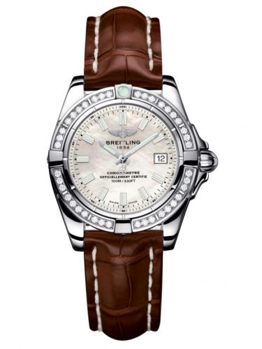 Breitling A71356LA.A787.778P : Galactic 32 Stainless Steel / Diamond / Pearl / Croco