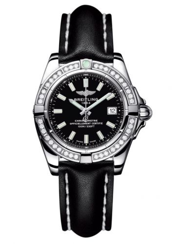 Breitling A71356LA.BE76.408X : Galactic 32 Stainless Steel / Diamond / Onyx Black / Calf