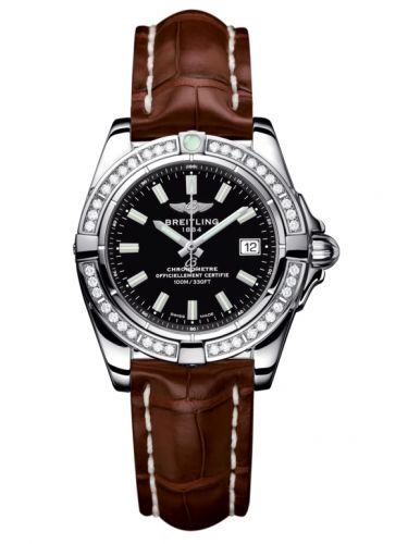 Breitling A71356LA.BE76.778P : Galactic 32 Stainless Steel / Diamond / Onyx Black / Croco