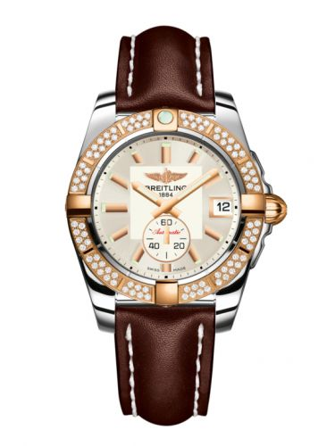 Breitling C3733053.G714.416X : Galactic 36 Automatic Stainless Steel / Rose Gold / Diamond / Stratus Silver / Calf