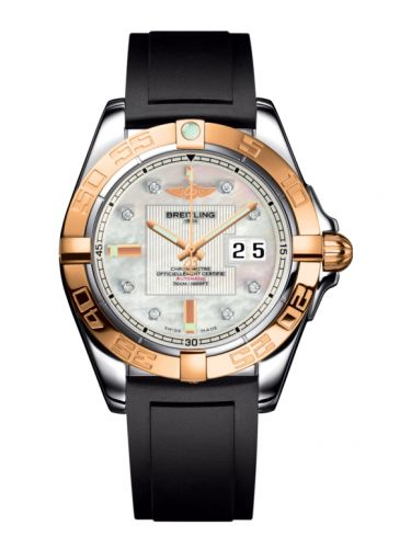 Breitling C49350L2.A706.132S : Galactic 41 Stainless Steel / Rose Gold / Pearl Diamond / Rubber