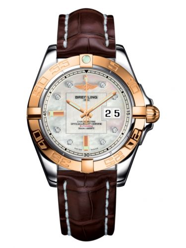 Breitling C49350L2.A706.724P : Galactic 41 Stainless Steel / Rose Gold / Pearl Diamond / Croco