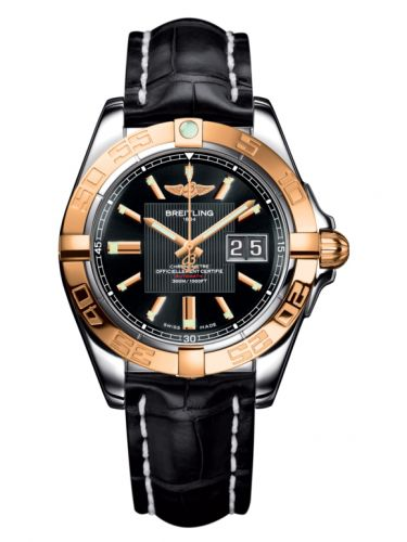 Breitling C49350L2.BA09.728P : Galactic 41 Stainless Steel / Rose Gold / Trophy Black / Croco