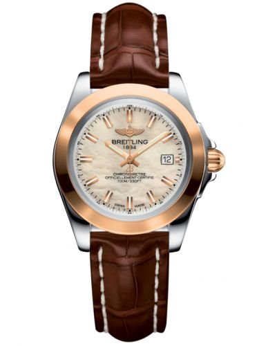 Breitling C7133012/A802/778P/A14BA.1 : Galactic 32 Sleek Edition Stainless Steel / Rose Gold / Pearl / Croco