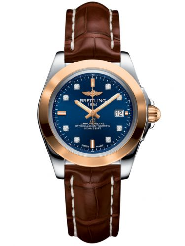 Breitling C7133012/C967/778P/A14BA.1 : Galactic 32 Sleek Edition Stainless Steel / Rose Gold / Horizon Blue Diamond / Croco