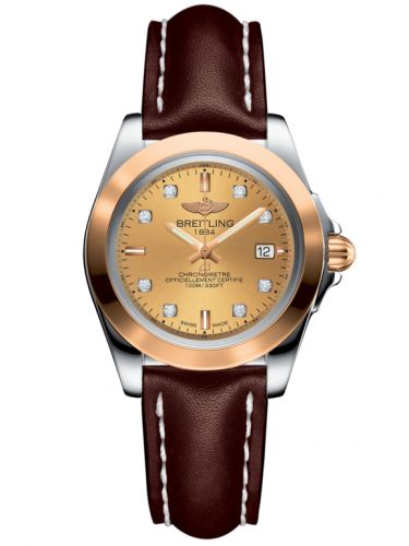 Breitling C7133012/H550/410X/A14BA.1 : Galactic 32 Sleek Edition Stainless Steel / Rose Gold / Golden Sun Diamond / Calf