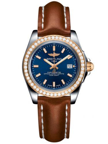 Breitling C7133053/C952/406X/A14BA.1 : Galactic 32 Sleek Edition Stainless Steel / Rose Gold / Diamond / Horizon Blue / Calf