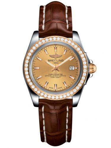 Breitling C7133053/H549/778P/A14BA.1 : Galactic 32 Sleek Edition Stainless Steel / Rose Gold / Diamond / Golden Sun / Croco