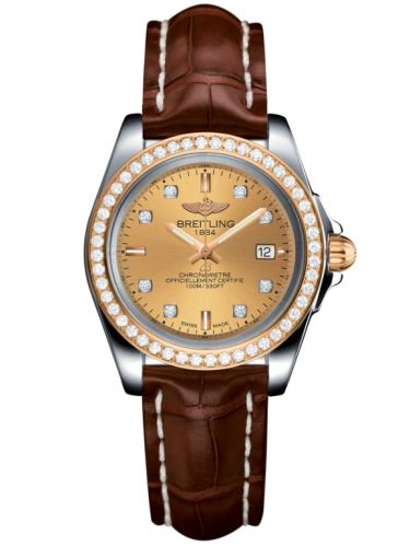 Breitling C7133053/H550/778P/A14BA.1 : Galactic 32 Sleek Edition Stainless Steel / Rose Gold / Diamond / Golden Sun Diamond / Croco