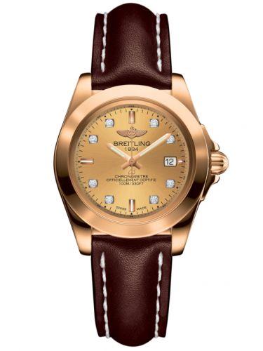 Breitling H7133012.H550.410X : Galactic 32 Sleek Edition Rose Gold / Golden Sun Diamond / Calf