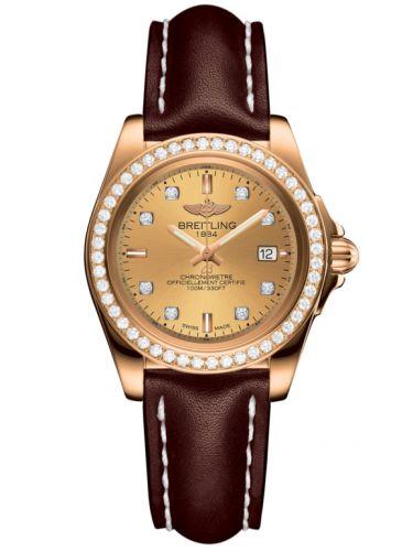 Breitling H7133053.H550.410X : Galactic 32 Sleek Edition Rose Gold / Diamond / Golden Sun Diamond / Calf