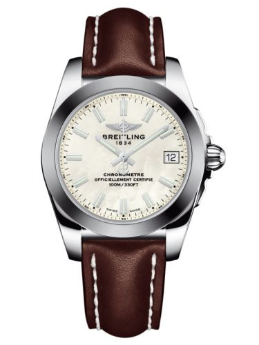 Breitling W7433012.A779.416X : Galactic 36 Stainless Steel / SleekT / Pearl / Calf