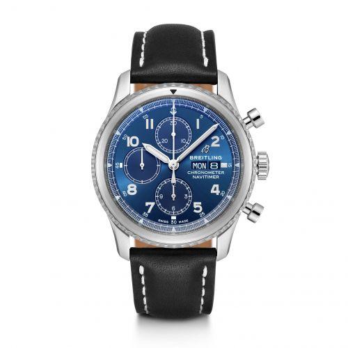 Breitling A13314101C1X1 : Navitimer 8 Chronograph 43 Stainless Steel / Blue / Black Calf