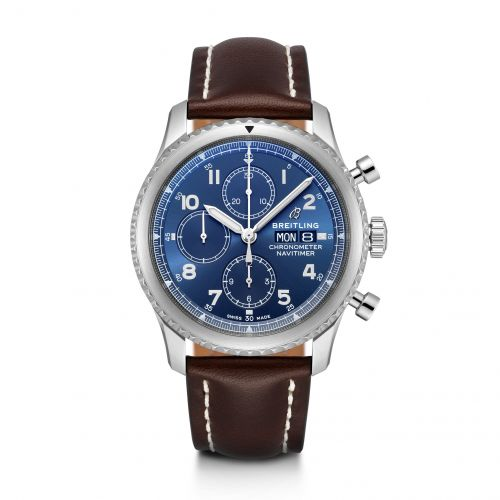 Breitling A13314101C1X2 : Navitimer 8 Chronograph 43 Stainless Steel / Blue / Brown Calf