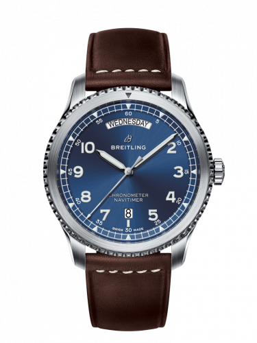 Breitling A45330101C1X2 : Navitimer 8 Automatic Day & Date 41 Stainless Steel / Blue / Brown Calf / Pin