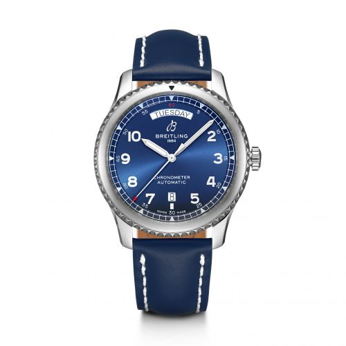 Breitling A45330101C1X3 : Navitimer 8 Automatic Day & Date 41 Stainless Steel / Blue / Blue Calf / Pin