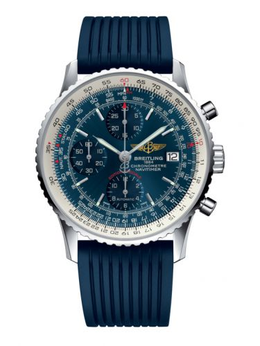 Breitling A1332412.C942.273S : Navitimer Heritage Stainless Steel / Aurora Blue / Rubber