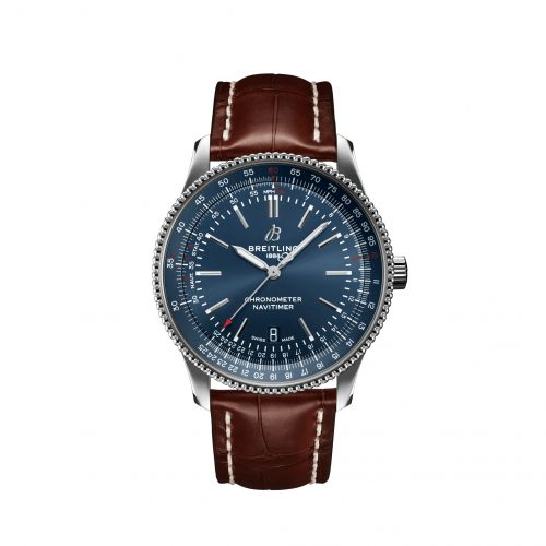 Breitling A17326161C1P2 : Navitimer Automatic 41 Automatic Stainless Steel / Blue / Croco / Folding