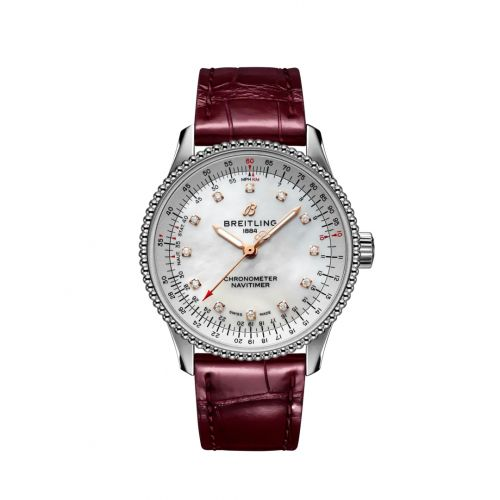 Breitling A17395211A1P2 : Navitimer 1 35 Automatic Stainless Steel / MOP / Croco / Folding