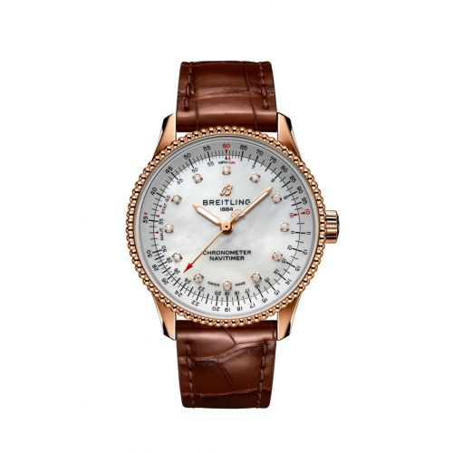 Breitling R17395211A1P2 : Navitimer 1 35 Automatic Red Gold / MOP / Croco / Folding