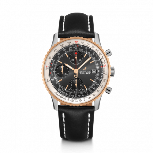 Breitling U13324211B1X2 : Navitimer 1 Chronograph 41 Stainless Steel / Red Gold / Black / Calf / Folding