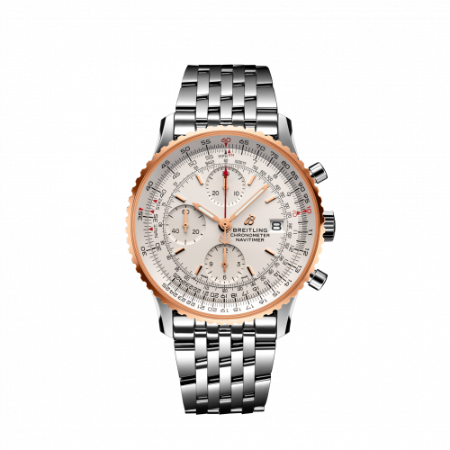 Breitling U13324211G1A1 : Navitimer 1 Chronograph 41 Stainless Steel / Red Gold / Silver / Bracelet
