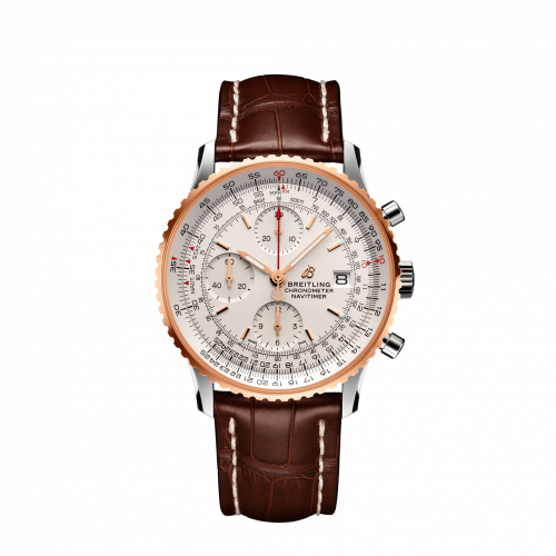Breitling U13324211G1P2 : Navitimer 1 Chronograph 41 Stainless Steel / Red Gold / Silver / Croco / Folding