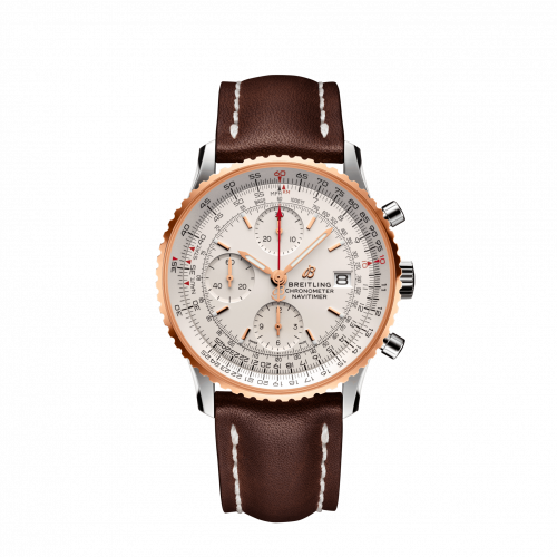 Breitling U13324211G1X2 : Navitimer 1 Chronograph 41 Stainless Steel / Red Gold / Silver / Croco / Folding