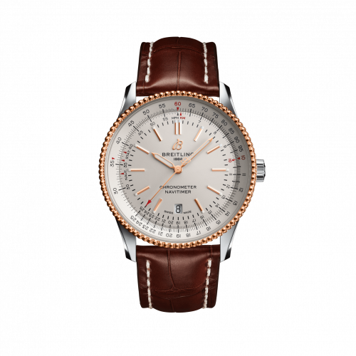 Breitling U17326211G1P1 : Navitimer Automatic 41 Automatic Stainless Steel / Rose Gold / Silver / Croco / Pin
