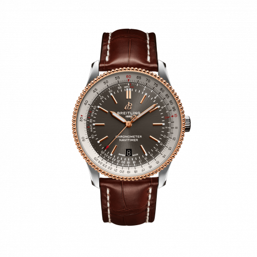 Breitling U17326211M1P1 : Navitimer Automatic 41 Automatic Stainless Steel / Rose Gold / Grey / Croco / Pin
