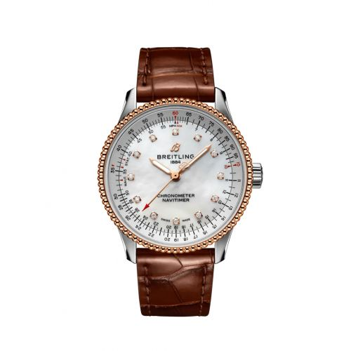 Breitling U17395211A1P2 : Navitimer 1 35 Automatic Stainless Steel / Red Gold / MOP / Croco / Folding