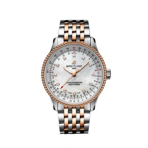 Breitling U17395211A1U1 : Navitimer 1 35 Automatic Stainless Steel / Red Gold / MOP / Bracelet