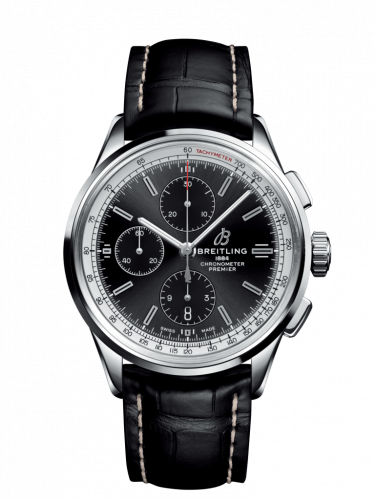 Breitling A13315351B1P2 : Premier Chronograph 42 Stainless Steel / Black / Croco Black / Tang