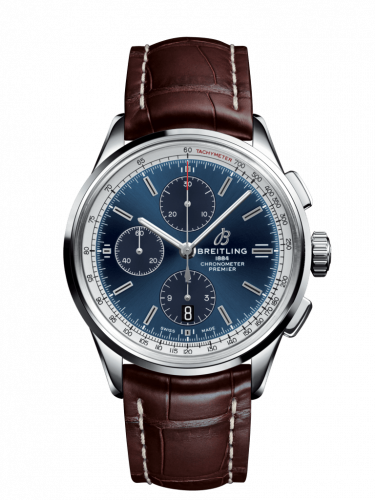 Breitling A13315351C1P2 : Premier Chronograph 42 Stainless Steel / Blue / Croco Brown / Tang