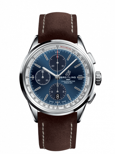 Breitling A13315351C1X2 : Premier Chronograph 42 Stainless Steel / Blue / Nubuck Brown / Tang