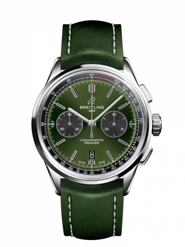 AB0118A11L1X1 : Breitling Premier B01 Chronograph 42 Bentley Stainless Steel / Green / Calf / Folding