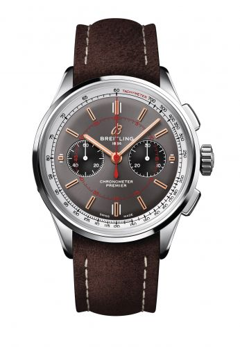Breitling AB0118A31B1X2 : Premier B01 Chronograph 42 Stainless Steel / Wheels and Waves  / Nubuck / Pin